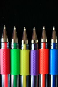 Coloured Pens In a Row