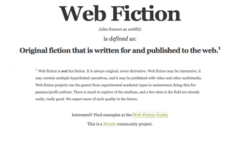 What Is Web Fiction?